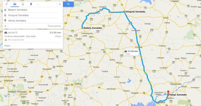 Badami to Hampi route