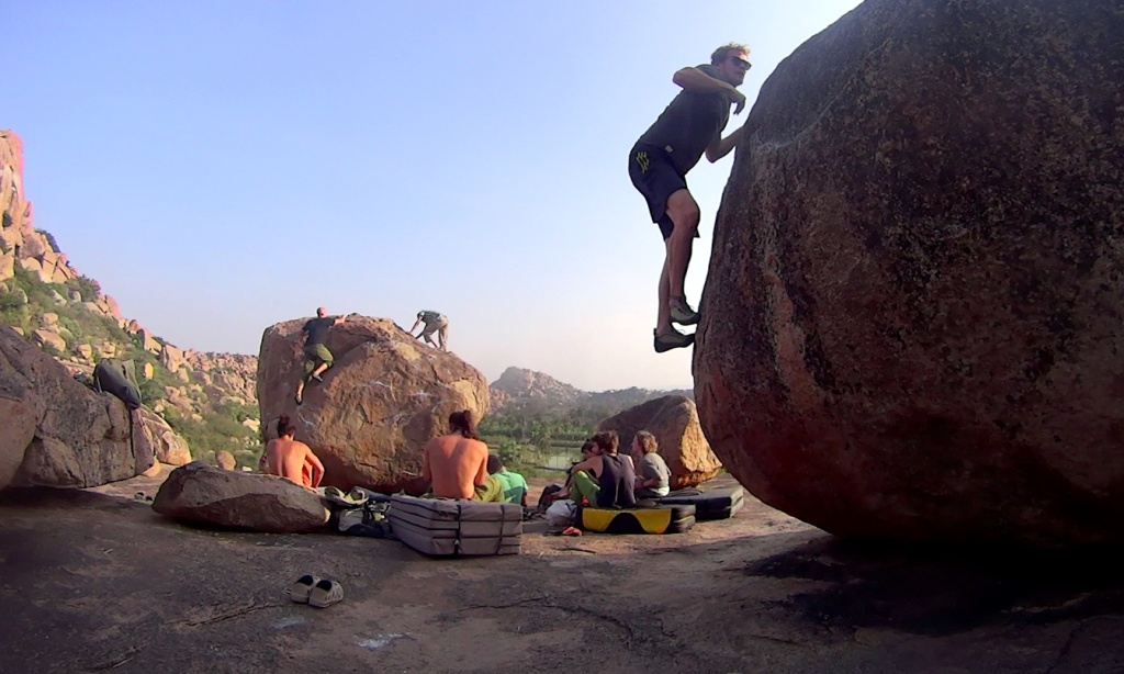 Rock climbing at hampi