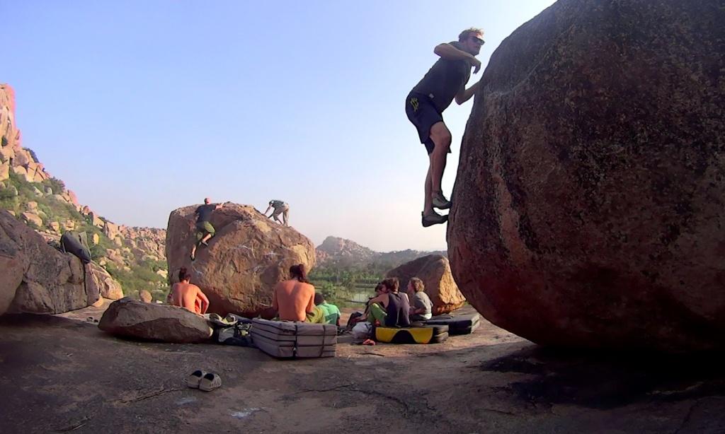 Rock climbing at hampi