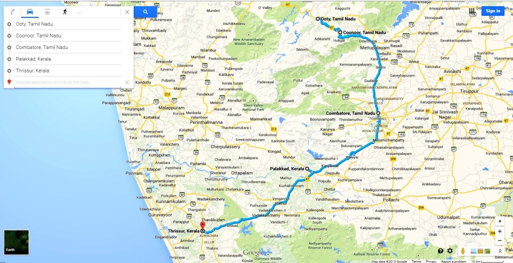 Ooty to Thrissur Route
