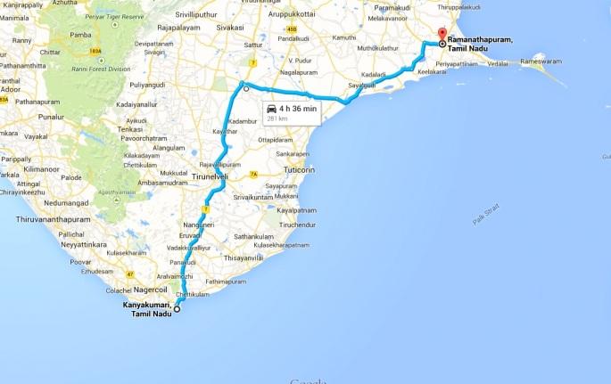 Kanyakumari to Rameshwaram map