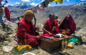 Lamas worshiping during annual prayer near kaza during spiti valley roadtrip