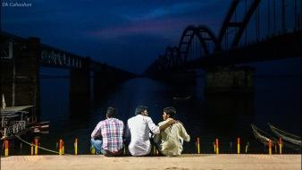 sunset on rajahmundary ghats telangana