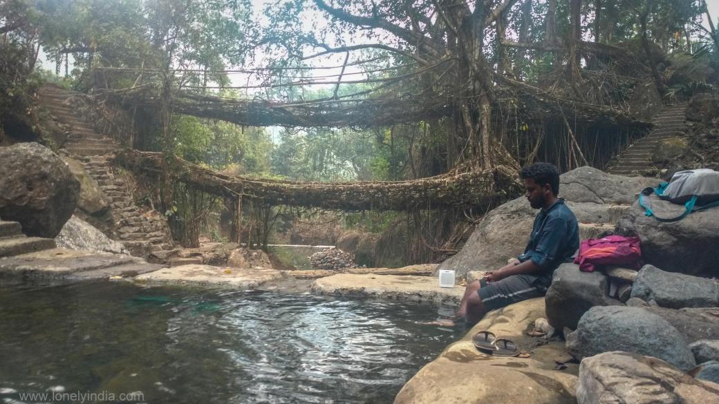 peace at double dacker root bridge meghalaya