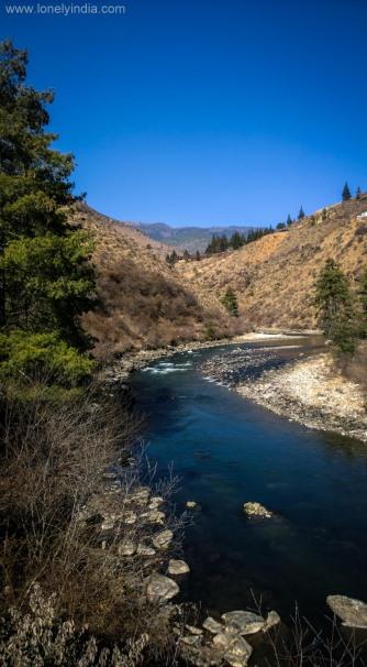River on way from thimpu to punakha bhutan