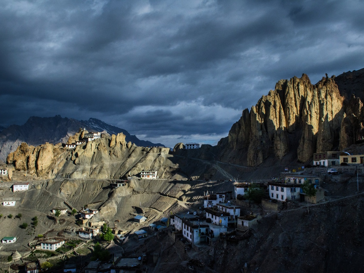 Dankar monastery, spiti valley sunrise view
