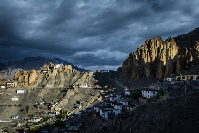 Dankar monastery, spiti valley sunrise view