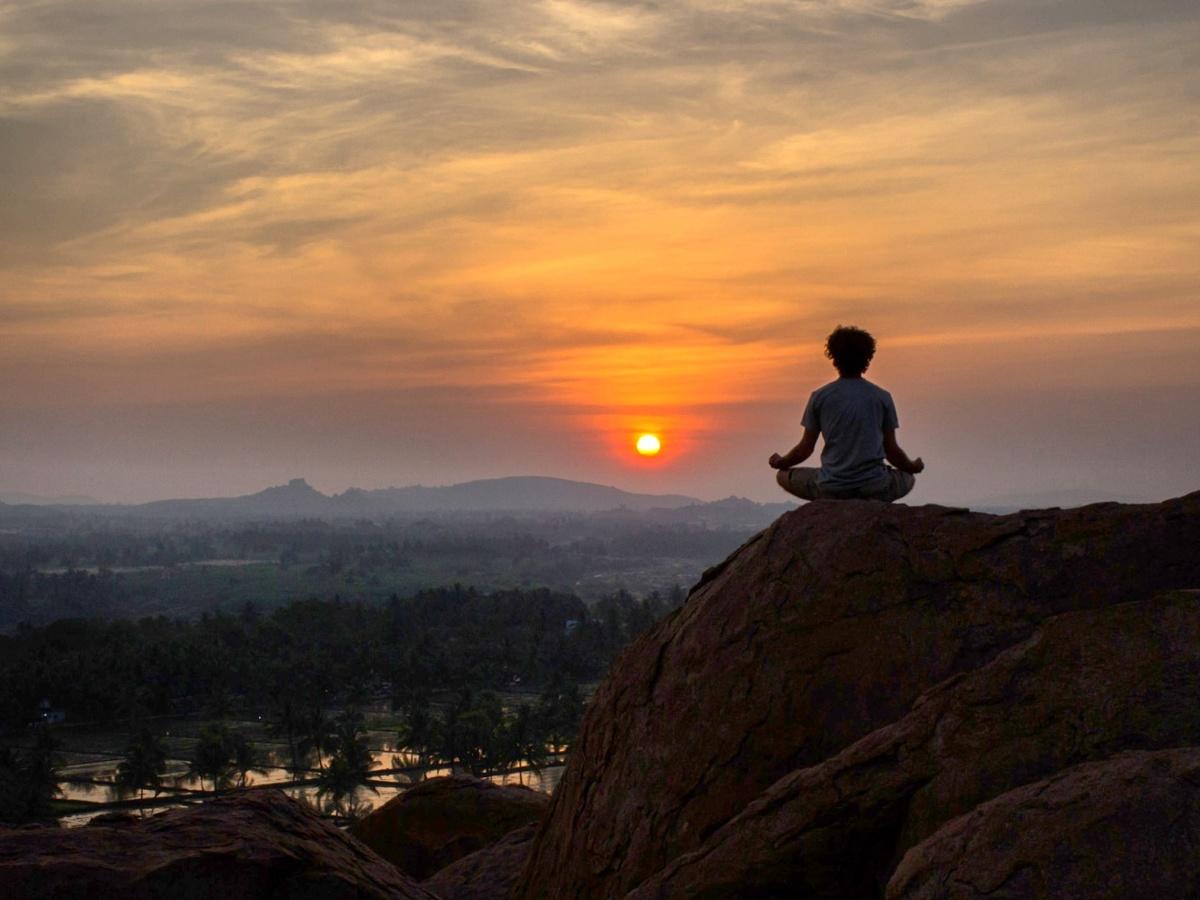 Sunset in hampi while doing yoga