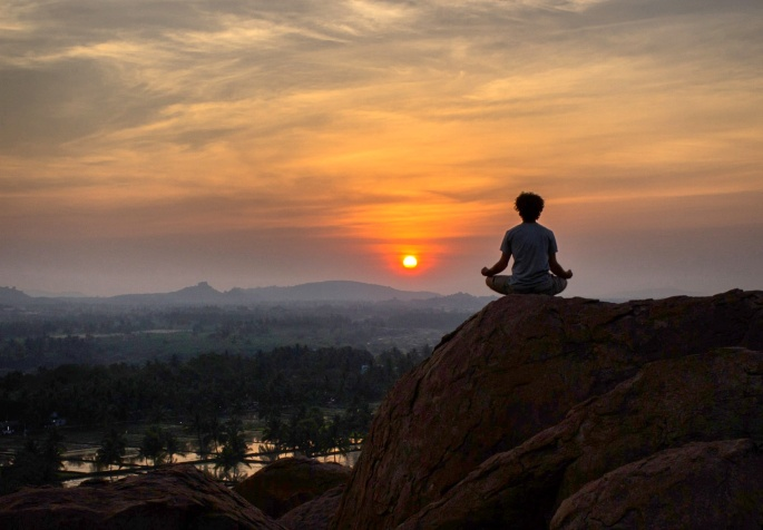 Sunset in hampi while doing yoga