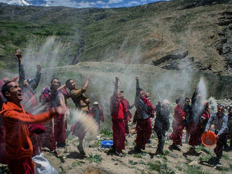 Lamas celebrating during Annual Prayer in Key Monastery spiti valley