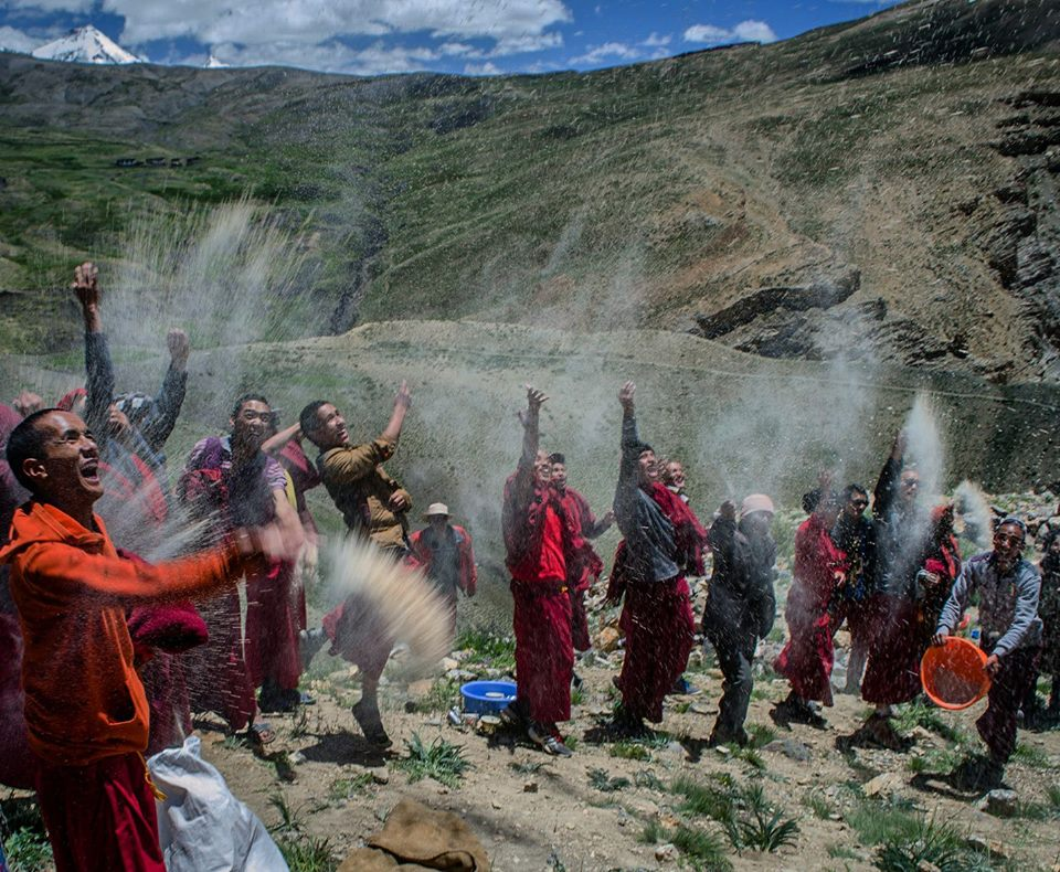 Lamas celebrating during Annual Prayer in Key Monastery spiti valley