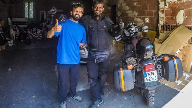 Lonelyindia meeting abijit in france during his world tour on a motorcycle