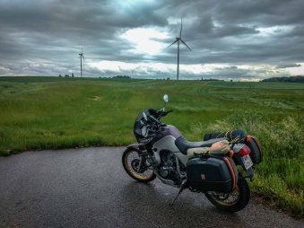 Countryside of Lithuania on honda transalp