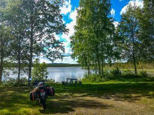 A lunch break on lake side in sweden