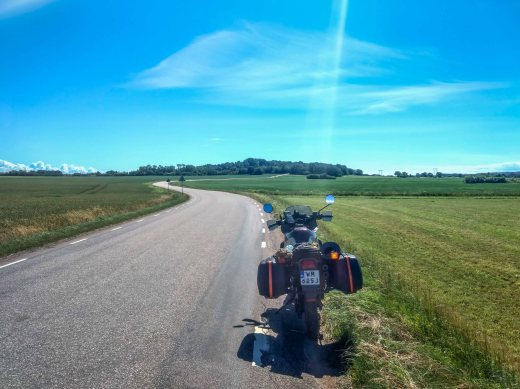 Denmark to Germank through country side roads on Honda Transalp