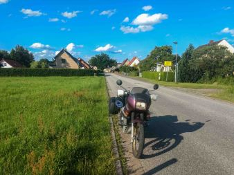 Traveling through Country side road of Germany on Honda transalp motorcycle