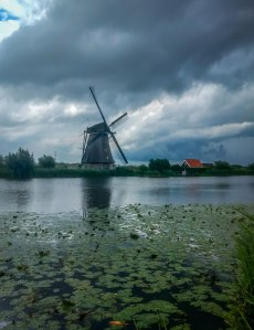 Windmill farm in Neatherland during backpacking trip