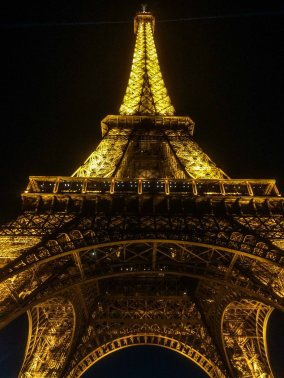 Night view of Eiffel tower in paris, france