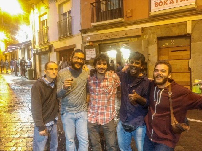 New friends in Pamplona, spain during backpacking trip
