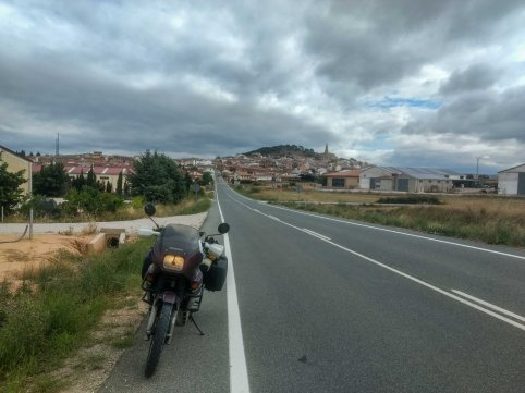 traveling through countryside roads in spain on a Honda Motorcycle