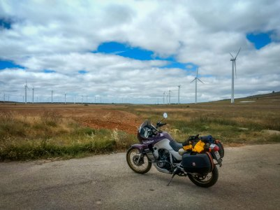 towards the ovideo , spain on Honda transalp Motorcycle