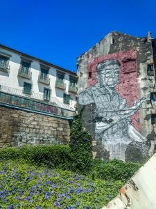 Graffiti on old house in Porto , Portogul