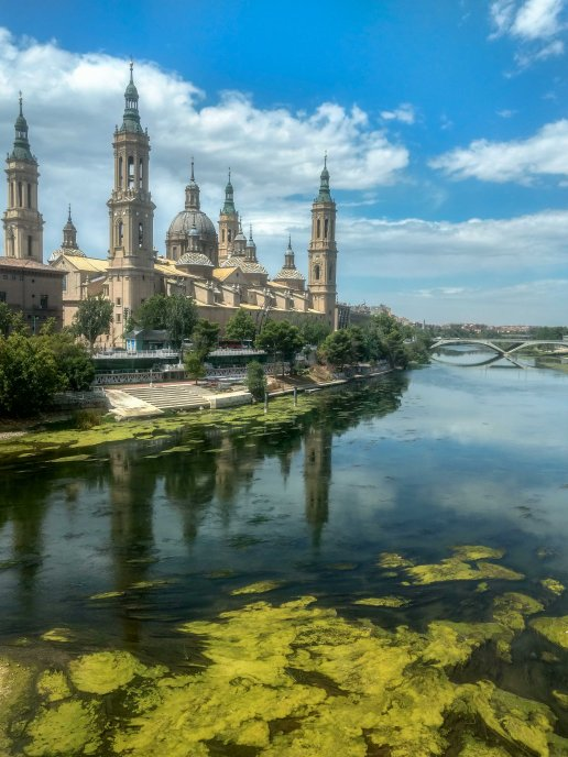 beautiful historical monument in zaragoza, spain during my backpacking trip