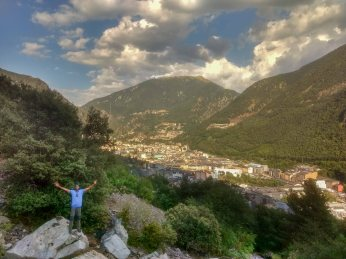 Trekking in Andorra Europe during Backpacking trip