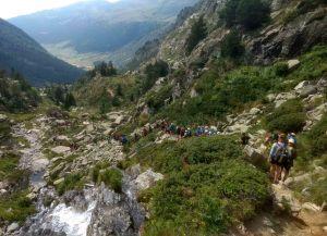 Trek to lake in andorra Europe