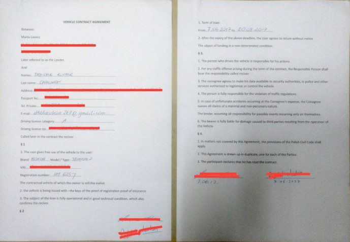 Motorcycle Agreement in English polish and german for RIding friend's motorcycle in Europe